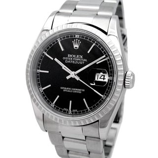 Pre-owned Rolex Men's Oyster Perpetual Datejust Black Dial Stainless Steel Watch