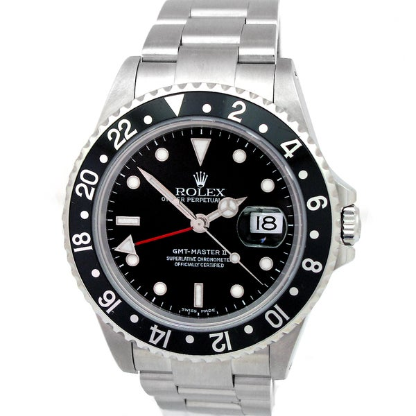 Pre-owned Rolex Men's Oyster Perpetual GMT-Master II Black Dial Stainless Steel Watch
