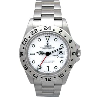 Pre-owned Rolex Men's Explorer II White Dial Stainless Steel Watch