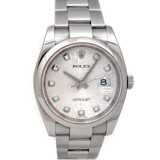 Pre-owned Rolex Men's Datejust Stainless Steel Diamond Accent Watch