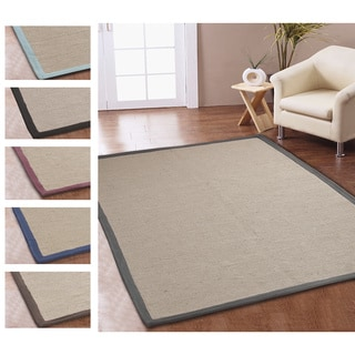 Eco Natural Cotton Border Jute Rug (8' x 10')