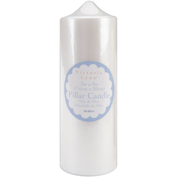 Pillar Candle 3inX8inPearlescent White