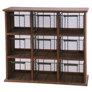 "Wood And Wire Cabinet 34"" Wide 30"" Tall"