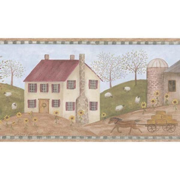 Green Meadowbrook Farm Wallpaper Border