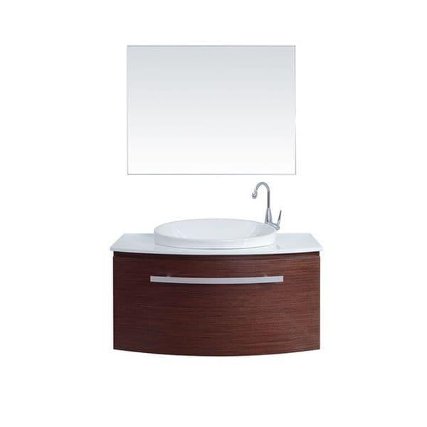 Eviva Allura Annabelle 40 Inch Iron Wood Wall Mount Bathroom Vanity Set With Glass Countertop