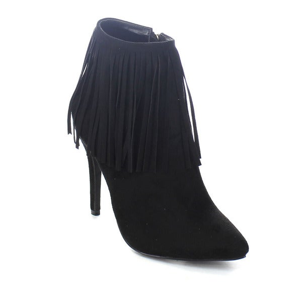 Adriana Shana-23 Women's Western Pointed Toe Fringe High Heel Ankle Booties