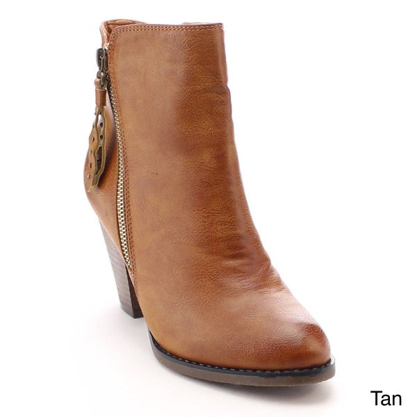 Nature Breeze Outcast-01 Women's Western Side Zipper Stacked Heel Ankle Booties
