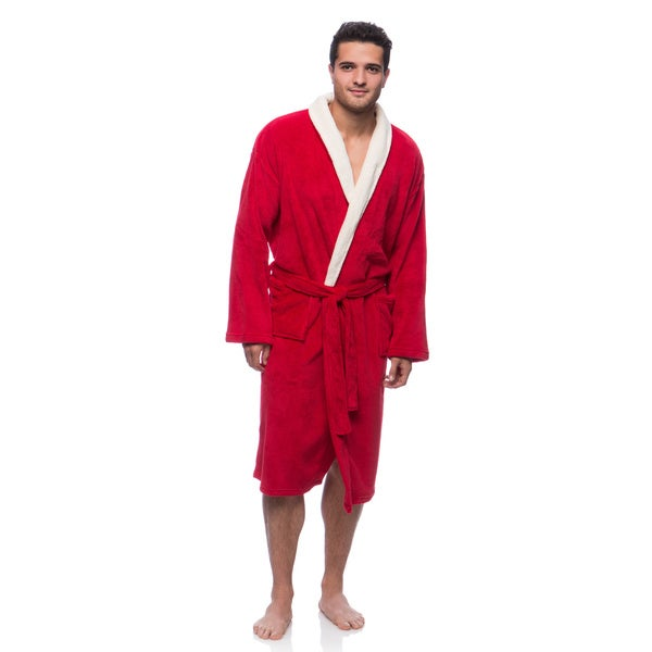 Unisex Scarlet Plush Robe with Cream Collar