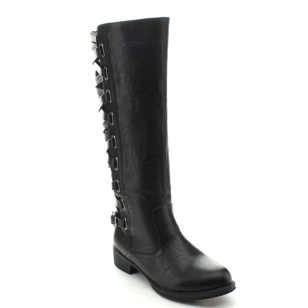 Jacobies Brook-4 Women's Fashion Strap Embellishment Knee-high Riding Boots