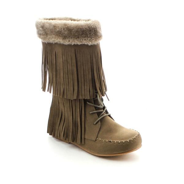 Jacobies Brook-5 Women's Stylish Fringe Trim Memory Foam Insole Flat Snow Boots