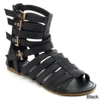 Glamourous Nana-503 Women's Multi Strappy Buckle Back Zip Flat Gladiator Sandals