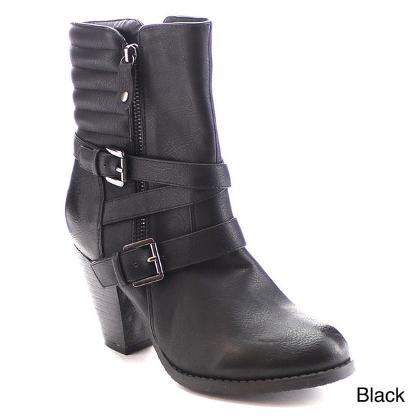 Nature Breeze Outcast-02 Women's Strappy Side Zipper Stacked Heel Mid-calf Boot