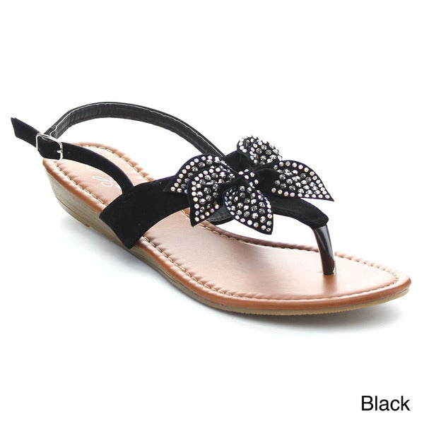 Glamourous Shine-309 Women's Thong-toe Rhinestone Bow Slingback Low Wedge Sandals