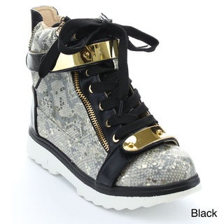 Bellamarie Deejay-18 Women's Lace-up Gold Straps Chic Wedge High Top Sneaker