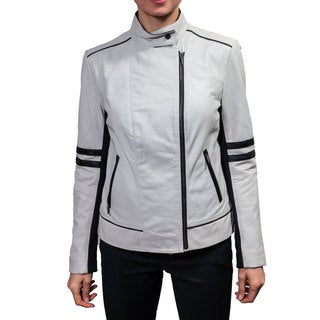 Laundry Women's Leather Motorcycle Jacket with Racer Stripes