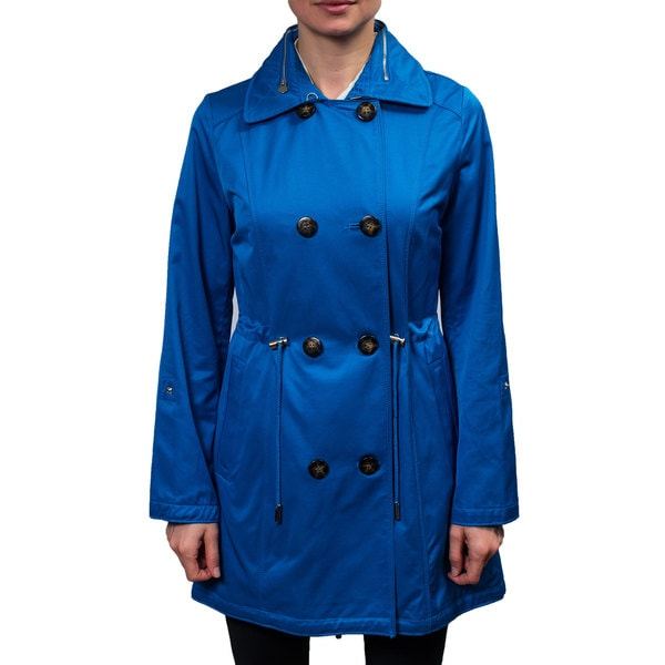 Laundry Women's Double Breasted Trench Coat with Hidden Hood Inside Collar