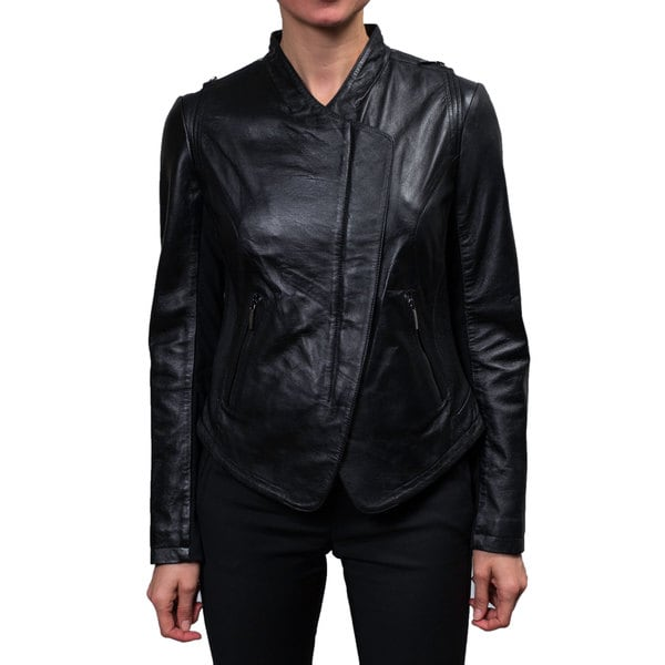Laundry Women's Black Leather Zip Front Jacket 16214381
