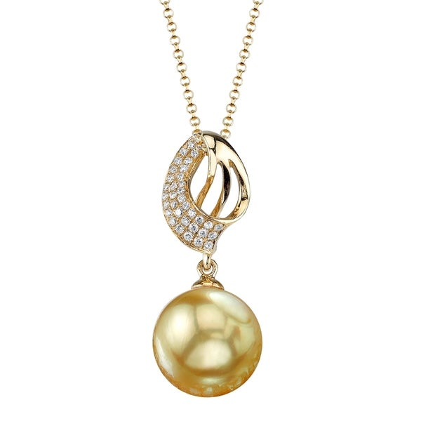 Radiance Pearl 18k Yellow Gold Golden South Sea Pearl 1/8ct TDW Diamond Pendant (9-10mm, 10-11 mm)