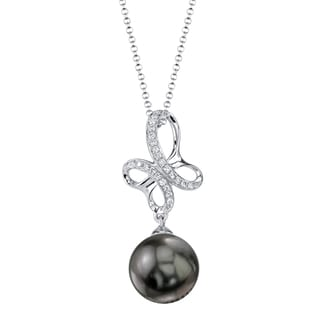 Radiance Pearl 18k Gold Tahitian South Sea Pearl 1/10ct TDW Diamond Pendant (8-9mm, 9-10 mm)