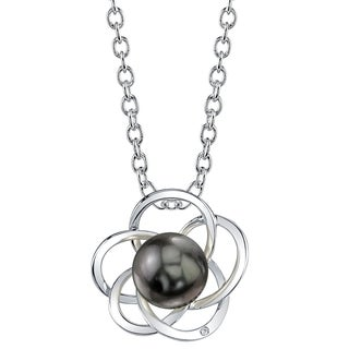 Radiance Pearl 14k Gold Tahitian South Sea Pearl Diamond Accent Pendant (8-9mm, 9-10 mm)