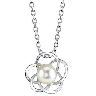 Radiance Pearl 14k Gold White South Sea Pearl Diamond Accent Pendant (8-9mm, 9-10 mm)