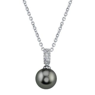 Radiance Pearl 14k Gold Tahitian South Sea Pearl 1/10ct TDW Diamond Pendant (9-10mm, 10-11 mm, 11-12 mm)