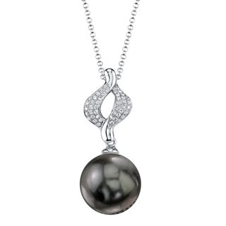 Radiance Pearl 18k Gold Tahitian South Sea Pearl 1/10ct TDW Diamond Pendant (9-10mm, 10-11 mm, 11-12 mm)