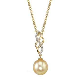 Radiance Pearl 14k Yellow Gold Golden South Sea Pearl 1/10ct TDW Diamond Pendant (9-10mm, 10-11 mm)