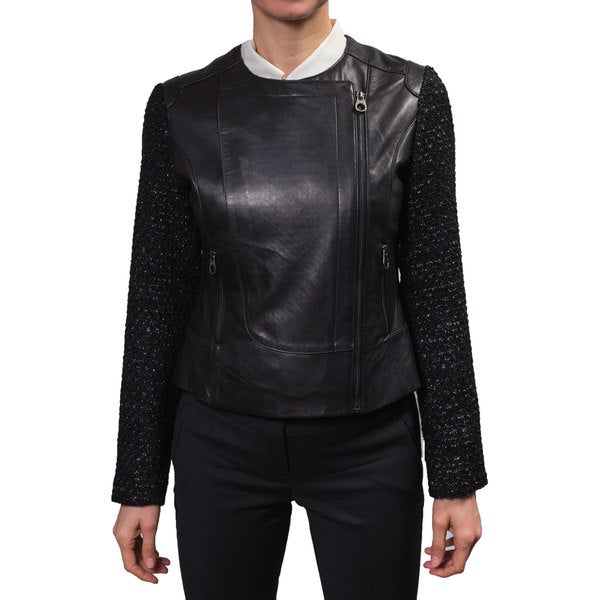 Laundry Women's Zip Front Leather Jacket with Tweed Sleeves 16214935