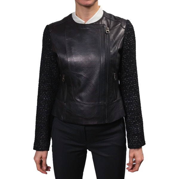 Laundry Women's Zip Front Leather Jacket with Tweed Sleeves