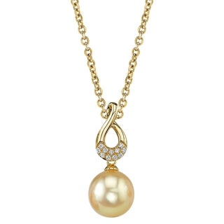 Radiance Pearl 14k Yellow Gold Golden South Sea Pearl Diamond Accent Pendant (9-10mm, 10-11 mm)