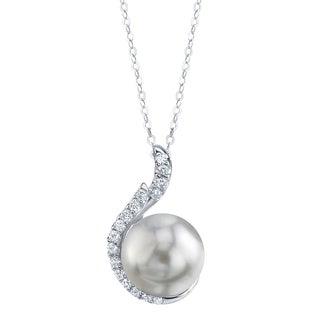 Radiance Pearl 14k Gold White South Sea Pearl 1/5ct TDW Diamond Pendant (9-10 mm)