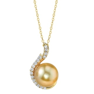 Radiance Pearl 14k Yellow Gold Golden South Sea Pearl 1/5ct TDW Diamond Pendant (9-10 mm)