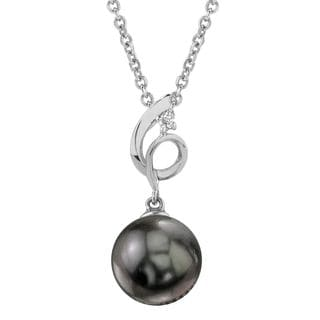 Radiance Pearl 14k Gold Tahitian South Sea Pearl Diamond Accent Pendant (9-10mm, 10-11mm, 11-12 mm)