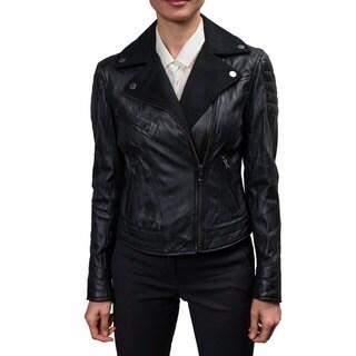 Buffalo Women's Black Leather and Wool Moto Jacket