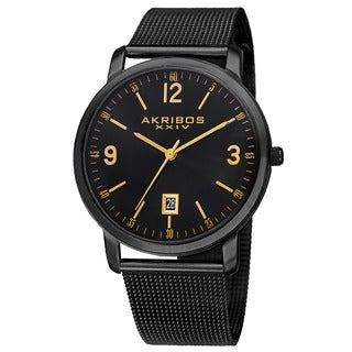 Akribos XXIV Men's Swiss Quartz Date Aperture Stainless Steel Black Bracelet Watch