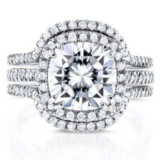 Annello 14k White Gold Moissanite and 3/4ct TDW Diamond Halo 3-Piece Bridal Rings Set (G-H, I1-I2)