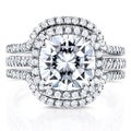 Annello 14k White Gold Moissanite and 3/4ct TDW Diamond Halo 3-Piece Bridal Rings Set (G-H, I1-I2)