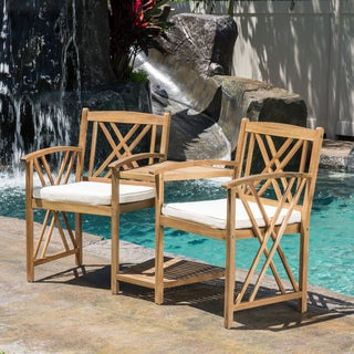 Christopher Knight Home Bayshore Outdoor Acacia Wood Adjoining Chairs with Cushions