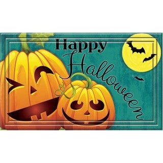 Fashionables Happy Halloween Jack O's Teal Door Mat (18 x 30)