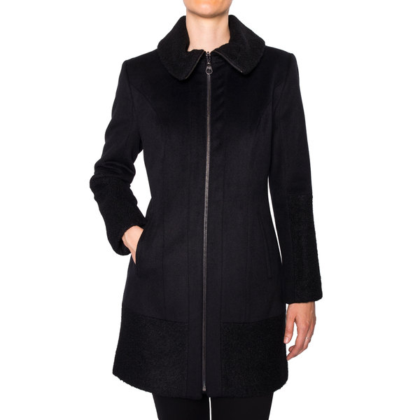 Laundry Women's Zip Front Wool Coat with Boucle