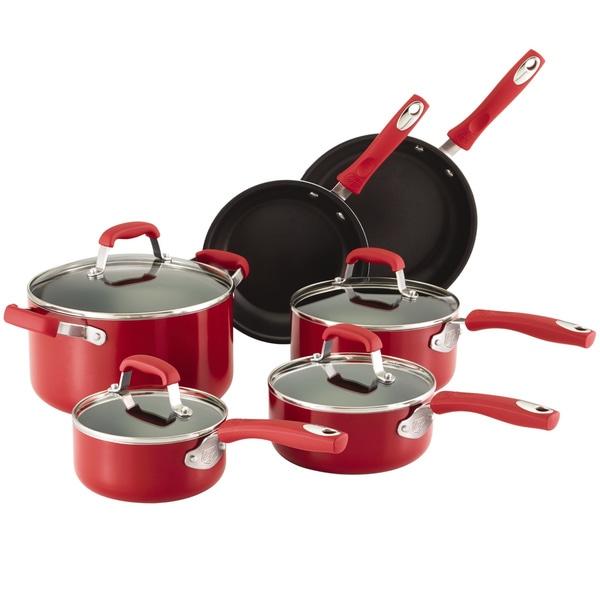Guy Fieri Nonstick Aluminum 10pc Cookware Set Red