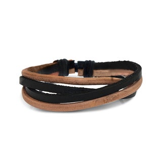 Gioelli Round Black and Brown Leather Adjustable Bracelet