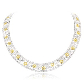18k White Gold 10ct TDW White and Yellow Diamond Flower Necklace (F-G, VS1-VS2)