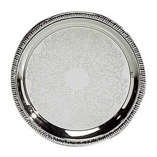 "Elegance 10"" Silver Designed Round Tray"