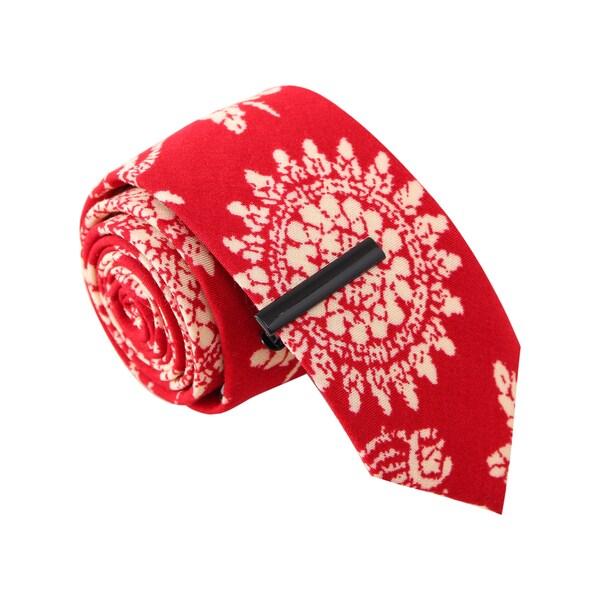 Skinny Tie Madness Men's 'Bandana Bandit' Red Skinny Tie with Tie Clip