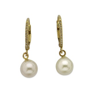 Kabella 14k Yellow Gold Cultured Akoya Pearl Diamond Accent Leverback Earrings (6-7 mm)