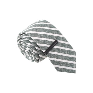 Skinny Tie Madness Men's Grey and White Striped Skinny Tie with Tie Bar