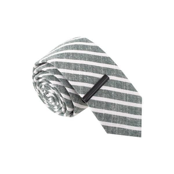 Skinny Tie Madness Men's Grey and White Striped Skinny Tie with Tie Bar