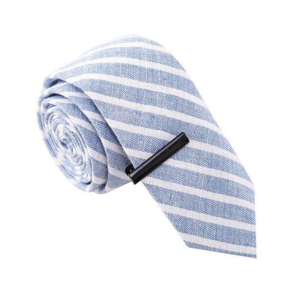 Skinny Tie Madness Men's Blue and White Striped Skinny Tie with Tie Clip